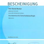 Zertifikat Daniel Becker Sicherheitsbeauftragter