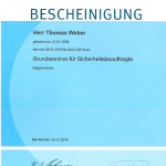 Zertifikat Thomas Weber Sicherheitsbeauftragter